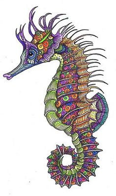 Zentangle Seahorse: Sheila Arthurs | Zentangle | Pinterest ...