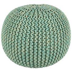 "2-Tone 16"" Aqua Cotton Rope Pouf | Overstock.com Shopping - The Best Deals on Ottomans"