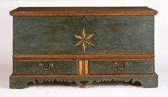 Painted furniture: Pennsylvania blue paint decorated dower chest, ca 1790