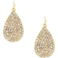 Adorned with shimmering faux crystals, these 14-karat gold-plated earrings bring elegance to an undone updo (hello, messy topknot!) or look sophisticated wit...