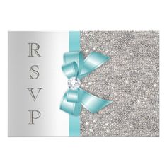 Teal Faux Bow Silver Diamonds RSVP Custom Invites