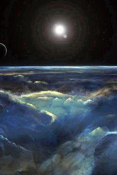 Space View Art Iillust Dark #iPhone #4s #wallpaper