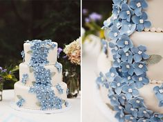 tiered white wedding cake with a swath of tiny blue flowers | cake by kristen roth (http://decoratethis.blogspot.com/) | photographed by sarah culver (http://sarahculver.com/) | featured on http://baysidebride.com