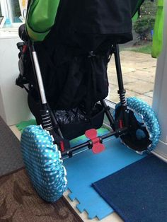 Wheelchair DIY hack, SAVE YOUR FLOORS WITH SHOWER CAPS AROUND THE WHEELS! GREAT FOR WHEELCHAIR USERS, SPECIAL NEEDS FAMILIES, CEREBRAL PALSY OR JUST YOUR EVERY DAY PARENT USING A STROLLER!