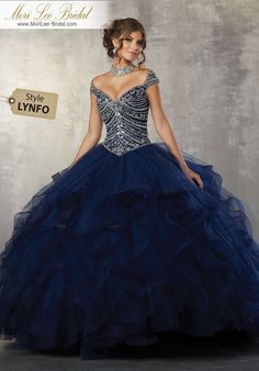 Tulle Quinceanera Dress Featuring a Gorgeous Beaded Bodice and Off the Shoulder Neckline. A Full Flounced Skirt Trimmed in Horsehair Complete the Look. Big Dresses, Quince Dresses, Sweet 16 Dresses, Ball Gown Dresses, Pretty Dresses, Navy Blue Quinceanera Dresses, Beautiful Gowns, Evening Dresses, Fashion Dresses