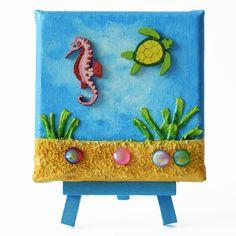 Water world 1. (Vízi világ 1.) - 10 x 10 cm (10 x 14 cm), 2018 #paverpol #textile #textil #acrylic #akril #vivienholl  #water #víz #turtle #teknős #csikóhal #seahorse Minion, Techno, Planter Pots, Minions, Techno Music