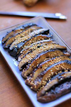 Balsamic-Ginger Grilled Portobello Mushrooms - a healthy side dish or appetizer   TheRoastedRoot.net #vegetarian #recipe #vegan #healthy