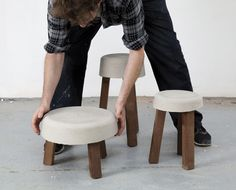 Make a 3-legged stool with simple materials like concrete and wood scraps to achieve chic DIY seating.