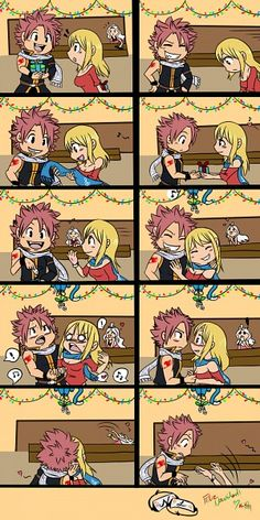 Tags: FAIRY TAIL, Natsu Dragneel, Lucy Heartfilia, Happy (Fairy Tail) look at Mira in the back xP