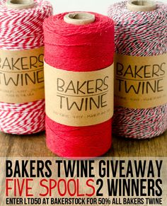 5 Spools of Bakers Twine GIVEAWAY! 2 Winners!
