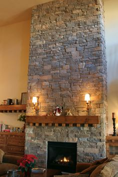 Stacked Stone Fireplace Veneer