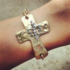 Fleur de lis gold cross bracelet