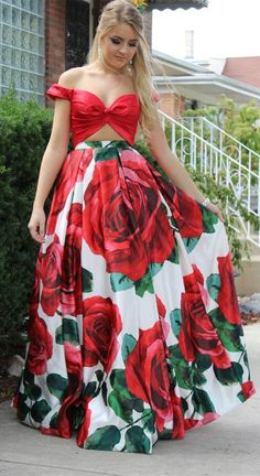 red floral long prom dress, two piece prom dress, 2018 long prom dress, bow off the shoulder red long prom dress