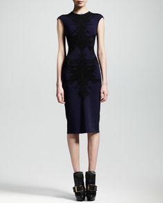 Spine Intarsia-Knit Flounce Dress, Navy/Black by Alexander McQueen at Neiman Marcus.