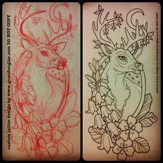 Tattoo Inspiration flash: deer crescent moon flowers