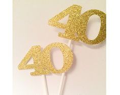 Gold Glitter Centerpiece 40th birthday, table centerpieces, table decor, 40th birthday, forty birthday party decor by PartyPerfectBoutique