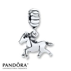 This sterling silver dangle charm from the 2013 Moments collection by Pandora features a trotting horse. Style # 791099.