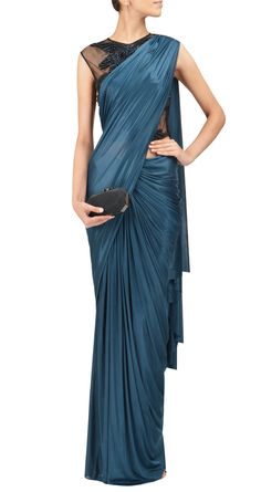 gorgeous teal pre-stitched #saree by http://www.AmitAggarwal.com/ India, MidEast, London