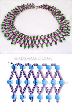 Free pattern for necklace Laura seed beads 11/0 seed beads 6/0 or any beads 4-6 mm