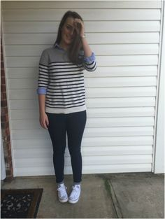 OOTD: Feelin' Preppy- J.Crew, H&M, Banana Republic, and converse. southerncomfortblog.weebly.com #jcrew #preppyoutfit #H&M #converse #bananarepublic #OOTD #blog