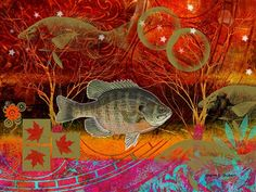 Fish Collage Orange Olive Green Abstract Art  8 by GrayWolfGallery, $25.00