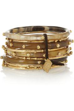 Ashley Pittman|Shaba set of nine horn and gold-tone bangles|NET-A-PORTER.COM