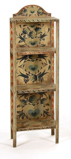 painted furniture / PETER HUNT-DECORATED THREE-SHELF ETAGERE With allover decoration of hearts and leaves