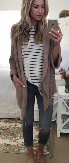 cute casual outfit brown cardi + top + jeans