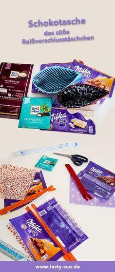 Sweet bags made of chocolate paper - Süße Taschen aus Schokoladenpapier – Tasty-Sue Cute bags made of chocolate paper! Fabric Crafts, Paper Crafts, Sweet Bags, Upcycled Crafts, Cute Bags, Free Sewing, Diy Fashion, Fashion Jewelry, Bag Making