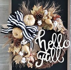 Beautiful Fall Wreaths - My Cozy Colorado The best selection of beautiful seasonal fall wreaths for 2018 for farmhouse or front door. Including gourdsm pumpkins, wood signs and fall colors. Diy Fall Wreath, Autumn Wreaths, Holiday Wreaths, Wreath Ideas, Thanksgiving Wreaths, Fall Door Wreaths, Grapevine Wreath, Ribbon Wreaths, Fall Garland