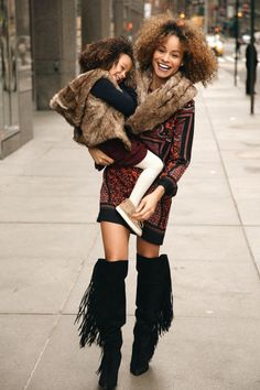 Mom and London Faux Fur Fashion style