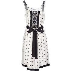 Blugirl Blumarine Knee-length Dress ($550) ❤ liked on Polyvore featuring dresses, white, sleeveless dress, white dress, knee-length dresses, bow print dress and white sleeveless dress