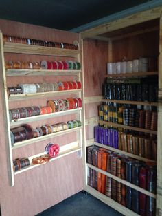 My husband made me a deco mesh and ribbon storage cabinet Sewing Room Storage, Craft Room Storage, Sewing Rooms, Craft Organization, Craft Rooms, Storage Ideas, Organizing Crafts, Ribbon Organization, Basement Storage