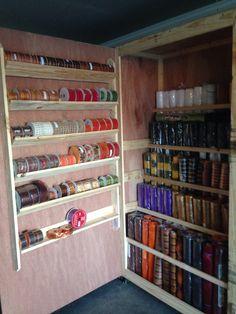 Sewing Room Storage, Craft Room Storage, Sewing Rooms, Craft Organization, Craft Rooms, Storage Ideas, Organizing Crafts, Ribbon Organization, Basement Storage