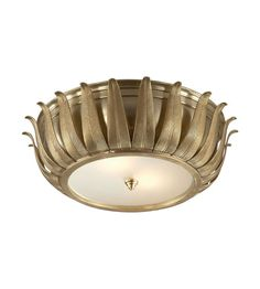 Alexa Hampton Audrey Flush Mount in Natural Brass with Frosted Glass by Visual Comfort