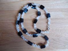 Black line agate and clear quartz nugget long necklace £10.00