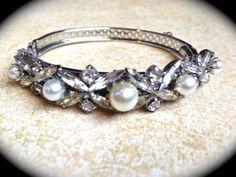 Vintage pearl and rhinestone bangle bracelet by JNPVintageJewelry, $48.00