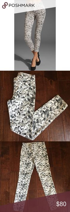 """J Brand Soft Floral Skinny Jeans These cropped floral J Brand skinny jeans feature 5-pocket styling and a single-button closure.  * 8.5"""" rise. 25"""" inseam. * 10"""" leg opening. * Fabrication: Stretch denim. * 98% cotton/2% lycra. J Brand Jeans Ankle & Cropped"""