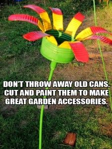 cut and paint an old tin can to make a great garden accessory, doubles as a bird seed feeder or just art