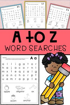 These word searches are great for kindergarten or first grade students learning the alphabet.  #kindergartenlearning #firstgradelearning