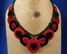 Valentine's Day Red & Triple Black Bakelite HEART Buttons