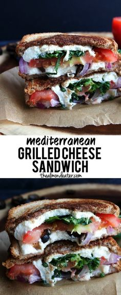 Mediterranean Grilled Cheese Sandwich - switch up your usual sandwich recipe with this mediterranean version! Use real Greek olives instead Tacos, Tostadas, Healthy Meals, Healthy Eating, Healthy Recipes, Healthy Food, Vegan Meals, Healthy Life, Lunch Recipes