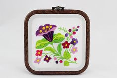 embroidery hoop picture  hoop art  hand embroidered wall hanging flowers / flower purple cobaea / leaves bouquet