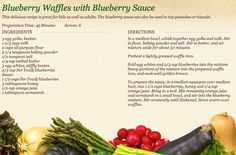 Blueberry Waffles with Blueberry Sauce at http://www.miedemaproduce.com/