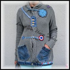 *tolle Ideen*: Strickjacken Upcycling recycling with old Jeans embrodery Crochet Stickies sew clothes denim