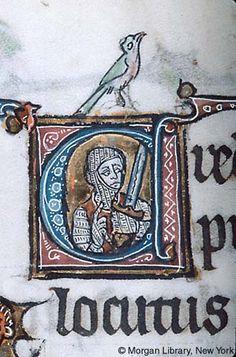 Psalter, MS M.796 fol. 109v - bird sits atop initial C.