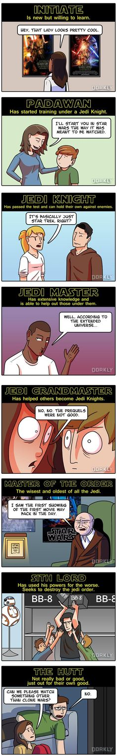 Dorkly Comic: Rankings of Star Wars Fans.      Hmmm....I kind of fit, like four of these. Bwahahahahahahahaha