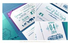 Custom Luxury Couture Wedding Invitation Design - Zoo Ticket Wedding Invitation Design - Teal, Blue, Purple - #CoutureWeddingInvitation #ZooWedding- Marie Couture Designs.