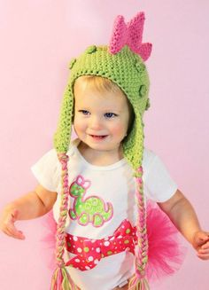 Dino Diva Dinosaur Hat, Halloween, Costume - Baby Toddler Children Animal Hat Pink and Green. $31.00, via Etsy.