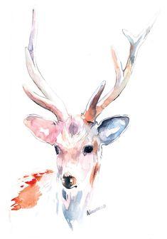 Watercolor Deer, Watercolor Drawing, Watercolor Animals, Watercolor Cards, Watercolor Paintings, Watercolours, Animal Paintings, Animal Drawings, Deer Drawing